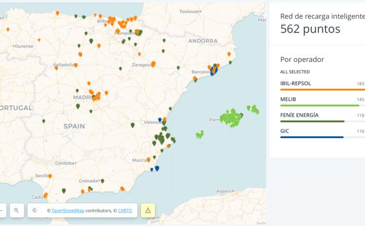 Red Eléctrica de España publica un mapa de puntos de carga inteligente
